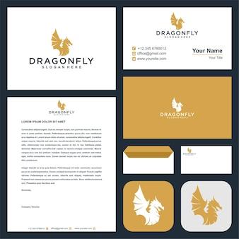 Logotipo da cabeça do dragão com cartão