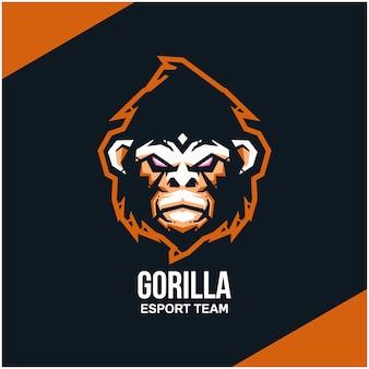 Logotipo da cabeça do gorila para equipe esportiva ou esport