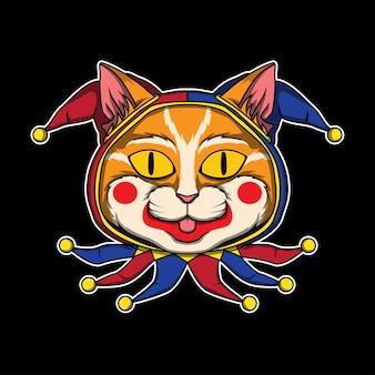 Logotipo da cabeça do jester cat