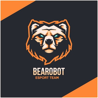 Logotipo da cabeça do urso para equipe esportiva ou esport.