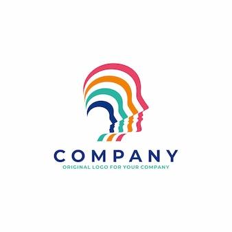Logotipo da cabeça humana em estilo listrado colorido