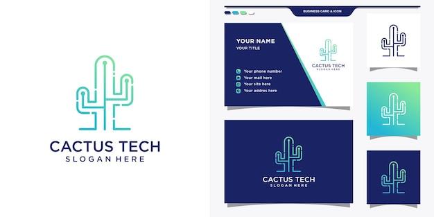 Logotipo da cactus com estilo de tecnologia gradiente e design de cartão de visita