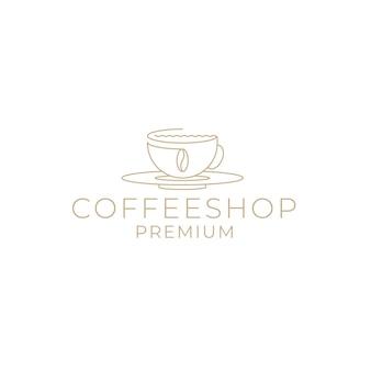 Logotipo da cafeteria com grãos de café