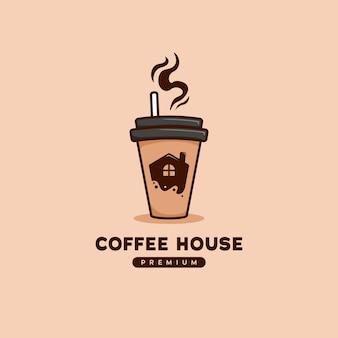 Logotipo da cafeteria com o ícone da casa dentro do café para ir ilustração de copo de papel em estilo cartoon