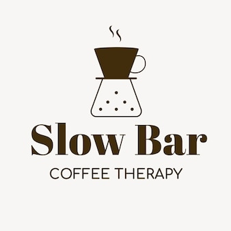 Logotipo da cafeteria, modelo de negócios de alimentos para vetor de design de marca, texto de terapia de café de barra lenta