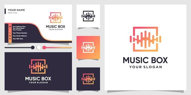 Logotipo da caixa de música com estilo de arte de linha moderna e design de cartão de visita