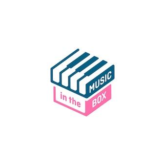 Logotipo da caixa de música, logotipo do teclado de piano estilizado e elemento de design. conceito de design de tema musical