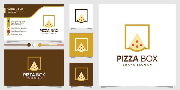 Logotipo da caixa de pizza com conceito moderno e bacana e design de cartão de visita premium vector