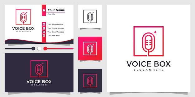Logotipo da caixa de voz com estilo de arte de linha moderna e design de cartão de visita premium vector
