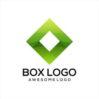 Logotipo da caixa gradiente colorido abstrato