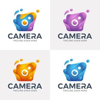 Logotipo da câmera abstrata moderna com estilo 3d.