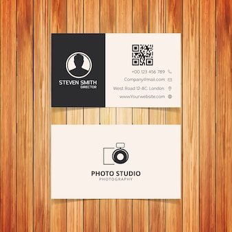Logotipo da câmera cartão empresarial minimalista com cor branca e preta