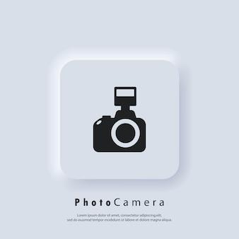 Logotipo da câmera fotográfica. ícone da câmera. conceito de fotografia. vetor. botão da web da interface de usuário branco neumorphic ui ux. neumorfismo