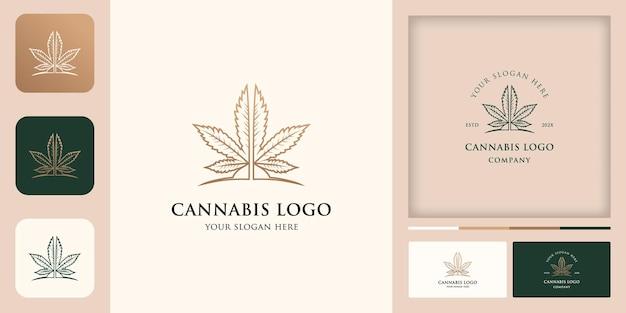 Logotipo da cannabis com conceito de linha