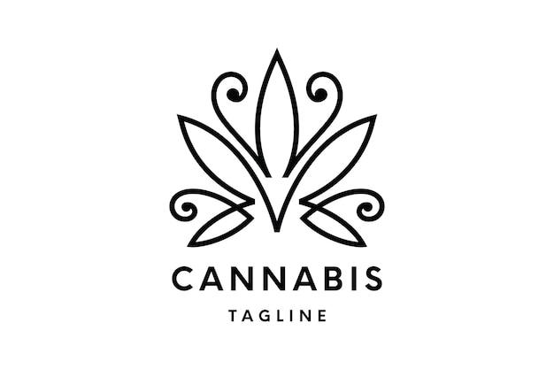 Logotipo da cannabis ou modelo de vetor do logotipo do cânhamo