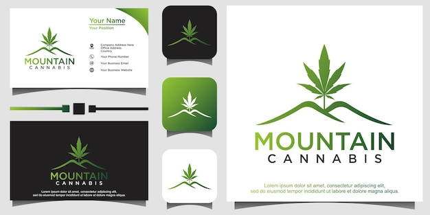 Logotipo da cannabis pot hemp leaf mountain
