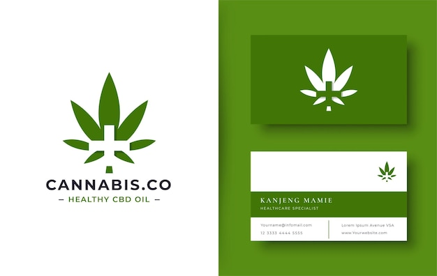 Logotipo da cannabis verde com cartão de visita mínimo