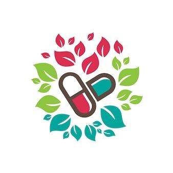 Logotipo da cápsula de farmácia de suplemento de ervas