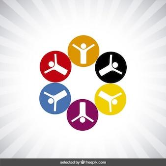 Logotipo da caridade com ícones circulares
