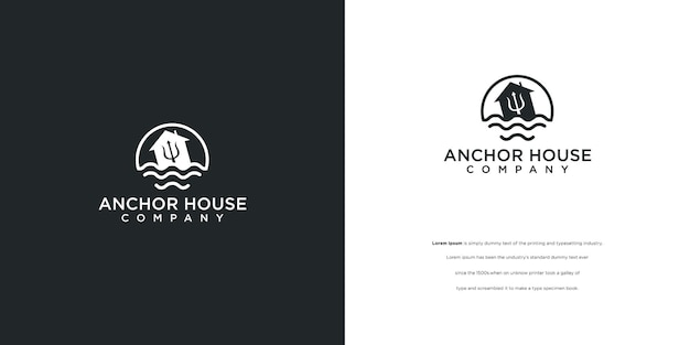 Logotipo da casa âncora na água