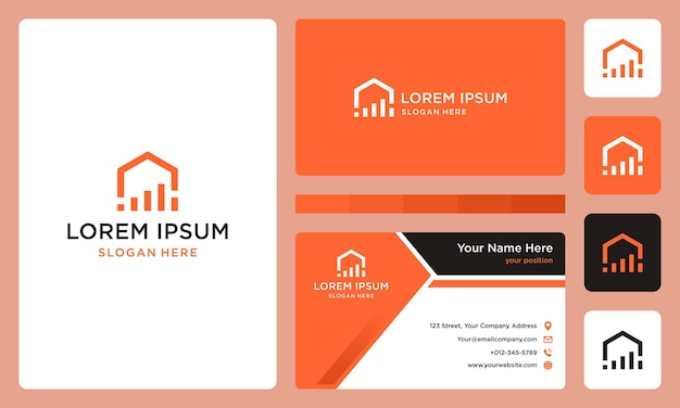 Logotipo da casa com barra de investimento. vetores premium. cartão de visitas.