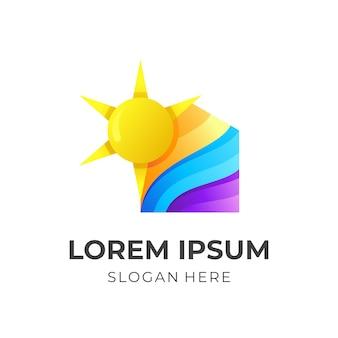 Logotipo da casa com combinação de design de sol, estilo colorido 3d