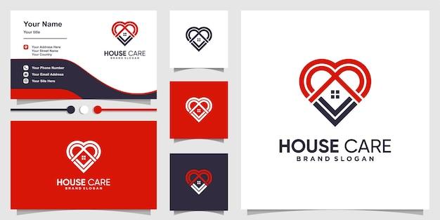 Logotipo da casa com conceito de carinho e modelo de design de cartão de visita
