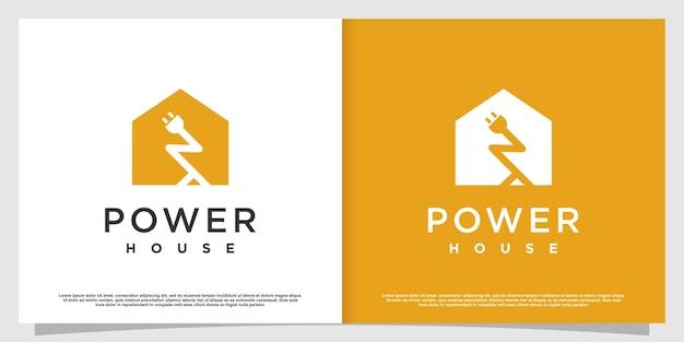 Logotipo da casa com conceito de energia elétrica premium vector