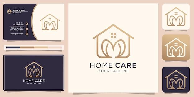 Logotipo da casa com coração em linha de arte e cartão de visita
