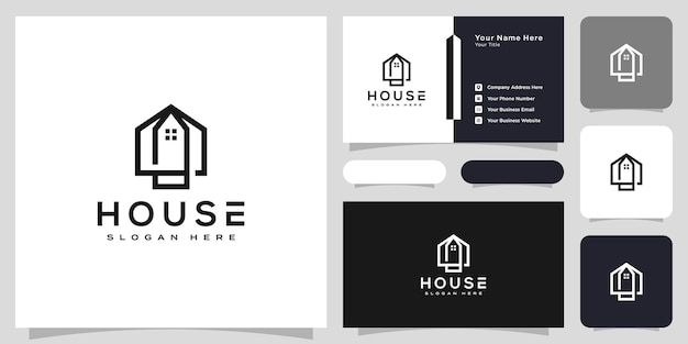 Logotipo da casa com estilo de linha de arte. resumo de construção de casa para design de logotipo e cartão de visita