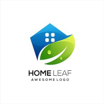 Logotipo da casa com folha colorida gradiente