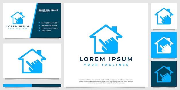 Logotipo da casa com um ponteiro de mão moderno e minimalista