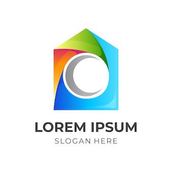 Logotipo da casa da lua, lua e casa, combinação de logotipo com estilo colorido 3d