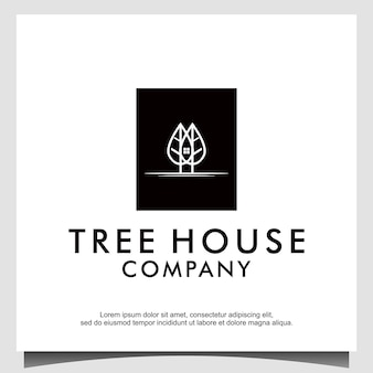 Logotipo da casa de árvores com vetor de design de estilo de arte de linha