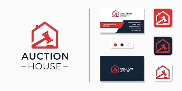 Logotipo da casa de leilões e identidade do modelo de design de cartão de visita