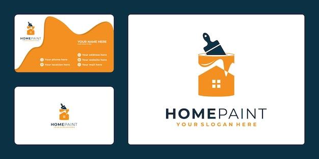 Logotipo da casa de pintura, design de cartão de visita, com balde de tinta de conceito e casa,