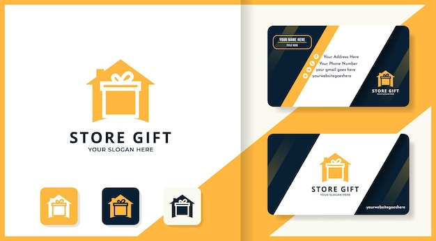 Logotipo da casa de presentes e design de cartão de visita