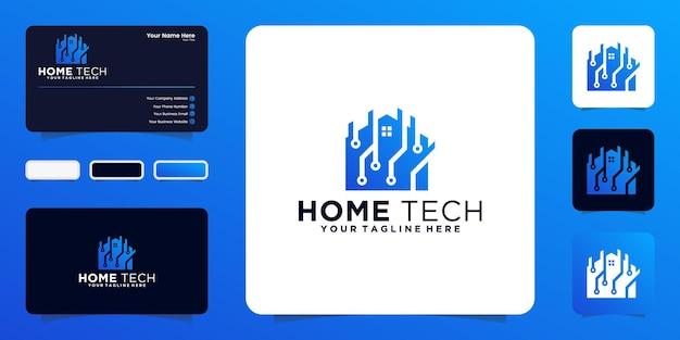 Logotipo da casa de tecnologia com chip de dados e conceito de cartão de visita