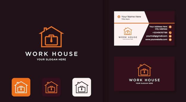 Logotipo da casa de trabalho, design de logotipo de mala e gravata para casa e cartão de visita