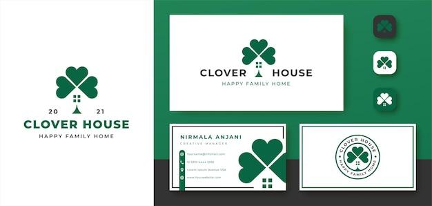 Logotipo da casa de três folhas do trevo e design de cartão de visita