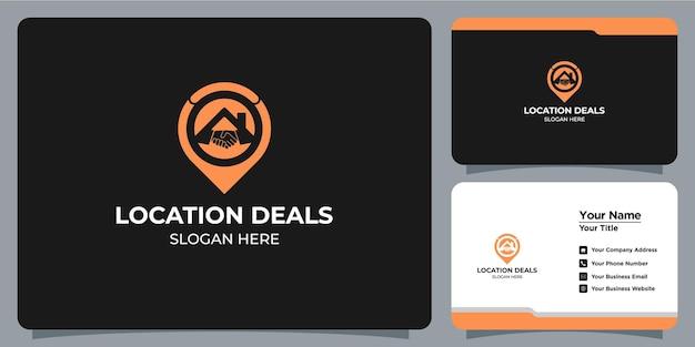 Logotipo da casa definido combinação minimalista de ícone de negócio com branding de cartão de visita