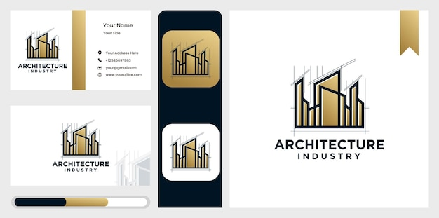 Logotipo da casa do arquiteto, de projeto arquitetônico e construção industrial