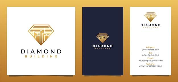 Logotipo da casa do diamante criativo e cartão de visita