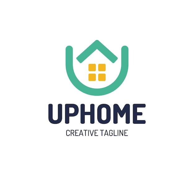 Logotipo da casa imobiliária. logotipo da casa seta para cima. letra u de elementos do modelo de design de ícone simples para casa