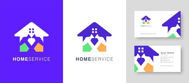 Logotipo da casa imobiliária reparar casa ou vila design de logotipo vetorial com um cartão de visita premium Vetor Premium