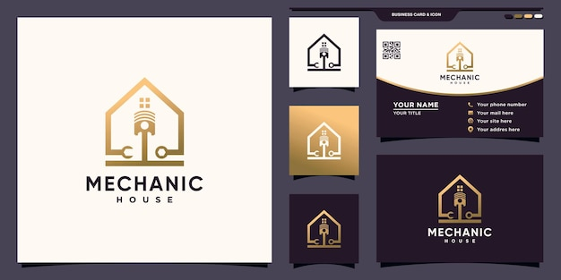 Logotipo da casa mecânica criativa com conceito único moderno e design de cartão de visita premium vector