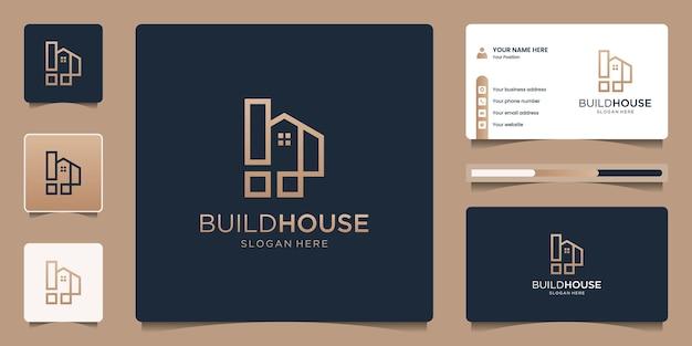 Logotipo da casa minimalista com estilo de linha de arte. imobiliário, apartamento, hotel, design de logotipo e modelo de cartão de visita.