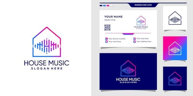 Logotipo da casa musical com estilo de arte de linha e design de cartão de visita premium vector