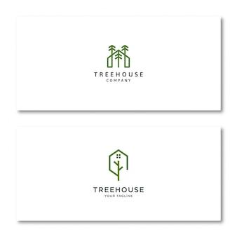 Logotipo da casa na árvore no cartão