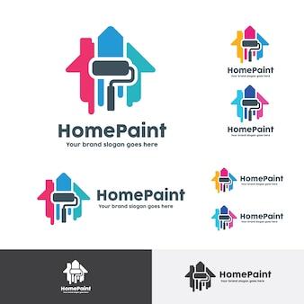 Logotipo da casa paint, decoração para casa identidade da empresa